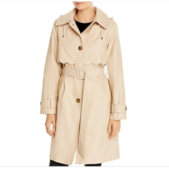 NWT Kate Spade Scalloped Edge Belted Trench Coat S